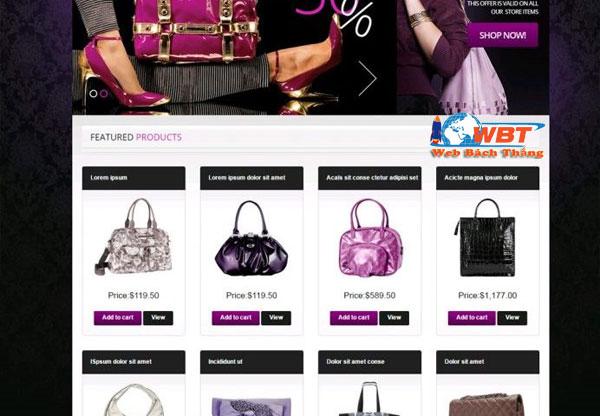 thiết kế website túi xách