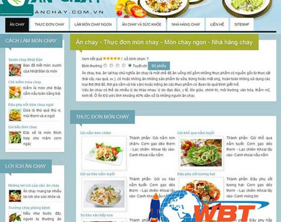 Thiết kế website bán đồ ăn chay