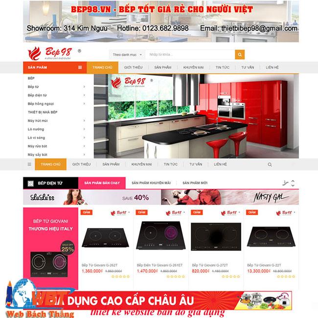 thiết kế website bán đồ gia dụng