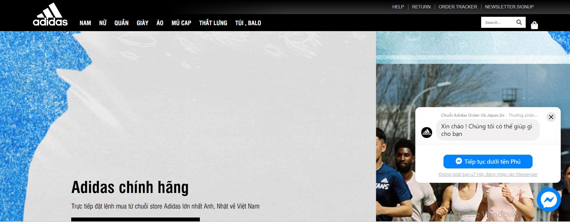 Giày Adidas tại TPHCM: Giao diện website
